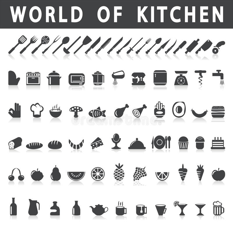 Vector icons of kitchen and food vector illustration