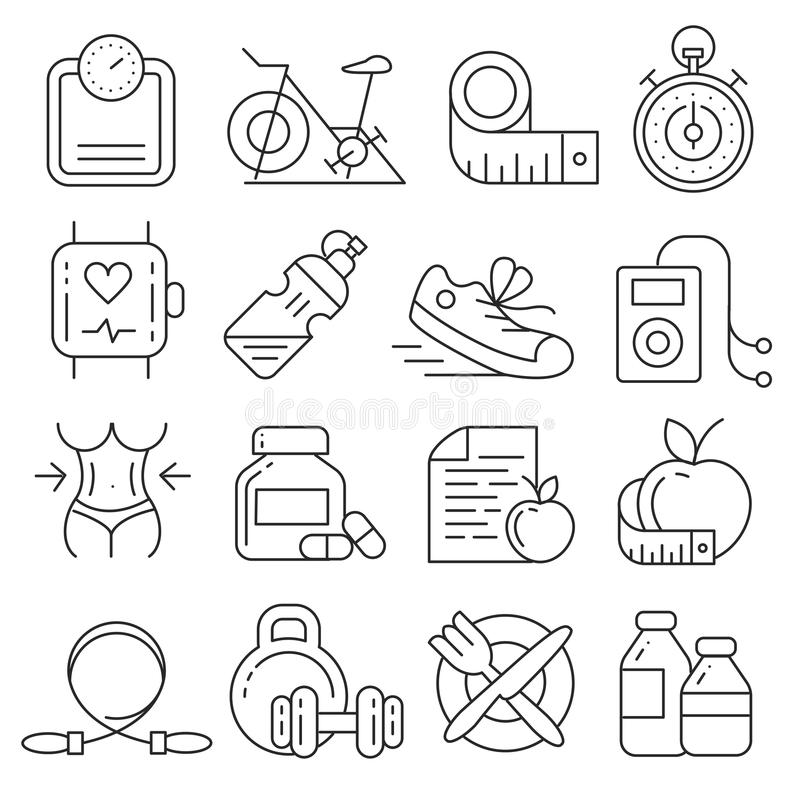 Vector icons lines set. Collection fitness gym fit vector illustration