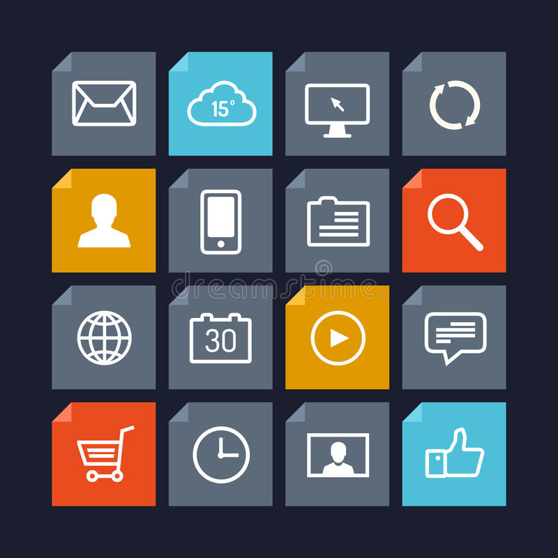 Vector icons in metro style stock illustration
