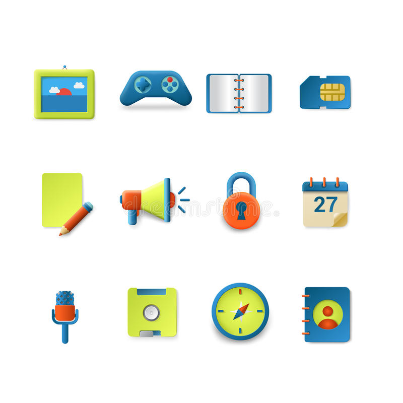 Vector icons for mobile app interface: photo speaker note sd. Stylish set of gradient silky candy smooth technology vector icons. Game speaker notebook envelope royalty free illustration