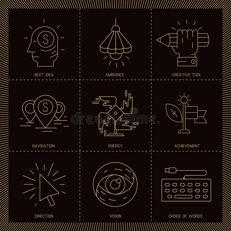 Vector icons in modern linear style. Set of Creative proces vector icons in modern linear style vector illustration