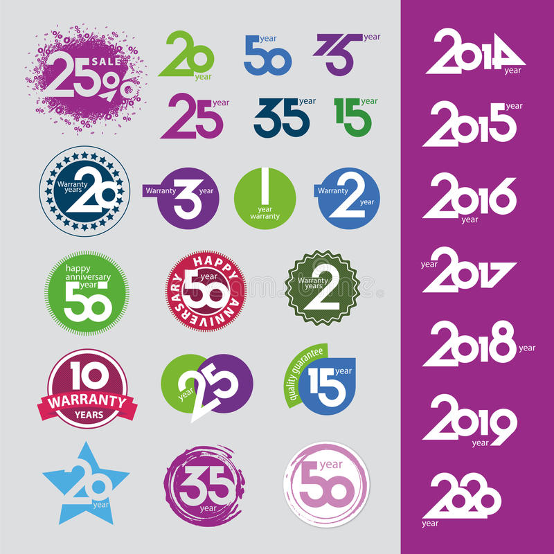 Download Vector Icons With Numbers Dates Anniversaries Stock Vector - Image: 33753668