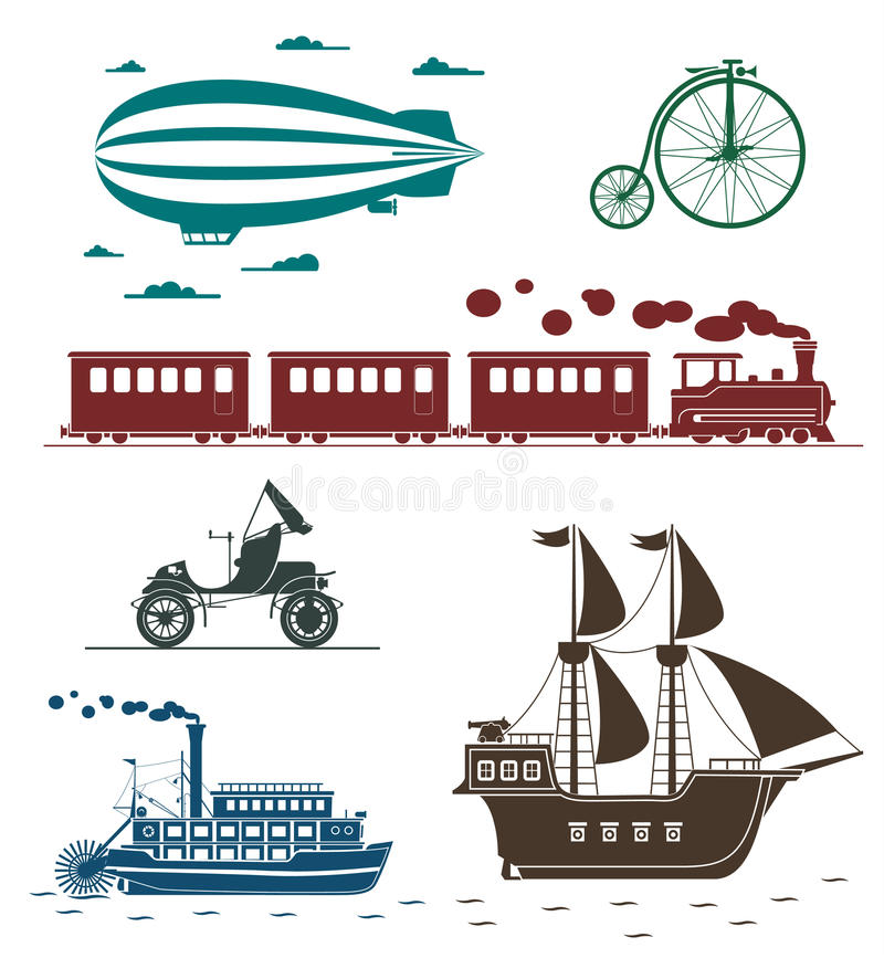 Free Vector Icons Of Vintage Means Of Transportation. Stock Photo - 49618290