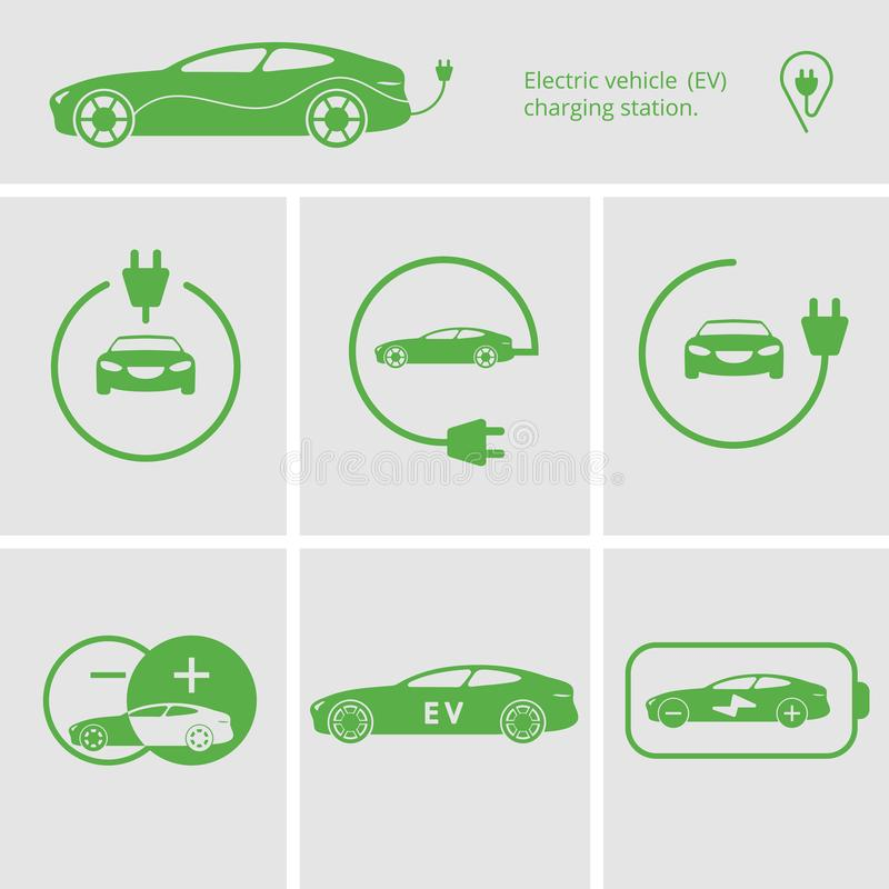 Vector Icons pin point electric vehicle charging station. Isolated electric car. Symbols hybrid cars. Future concept. stock illustration