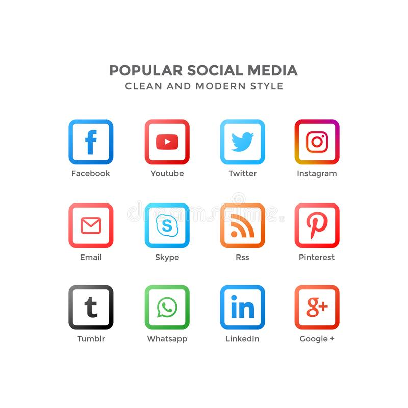Vector icons of popular social media in clean and modern style stock illustration