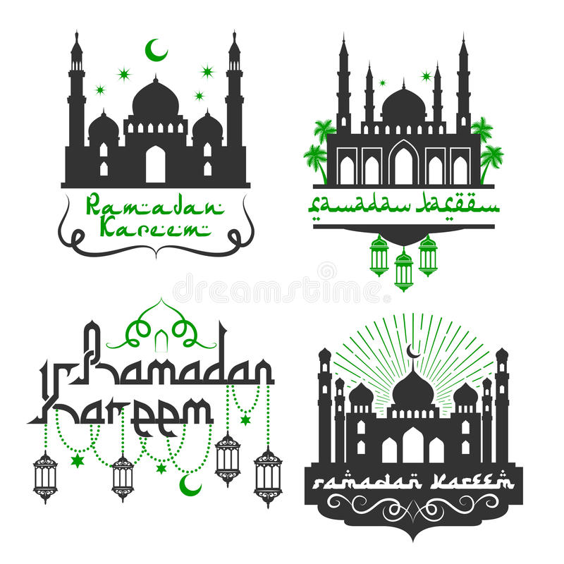 Vector icons for ramadan kareem holiday greetings stock vector ramadan kareem greetings for muslim religious holiday celebration vector icons set with mosque minarets lantern lights ornament crescent moon and star in m4hsunfo