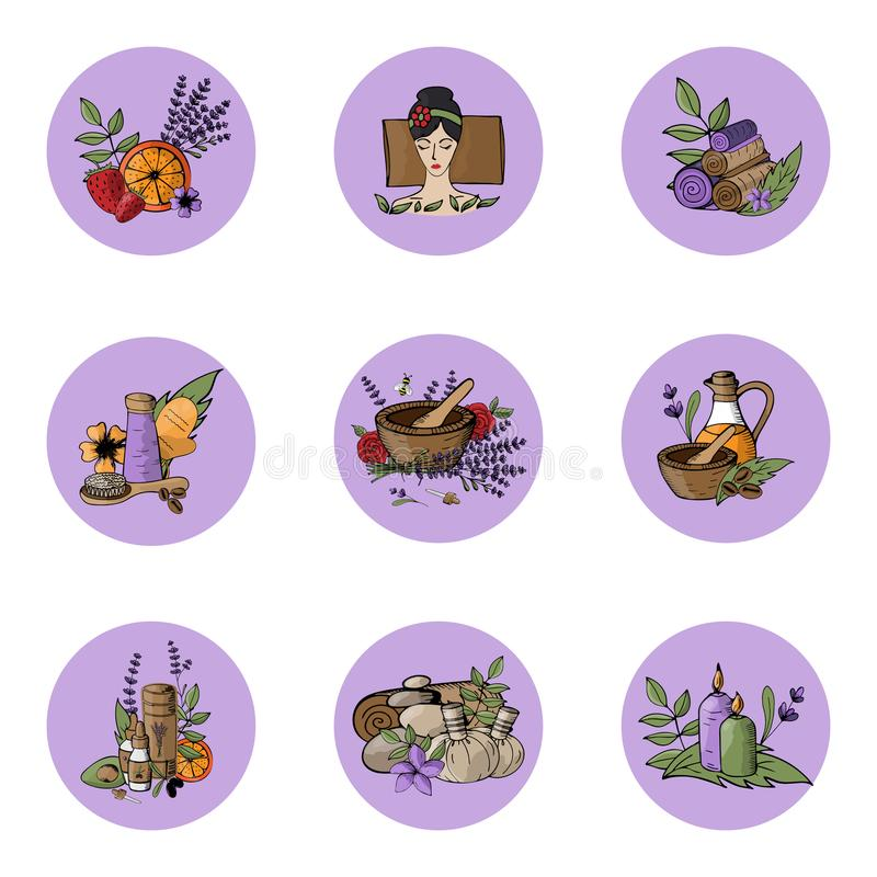 Vector icons relaxation, spa, massage, organic cosmetic, wellness therapy, natural cosmetics, bio, health and body. Care, alternative medicine. Violet Lavender royalty free illustration