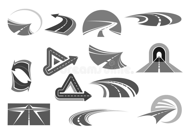 Vector icons of roads tunnels and highway signs royalty free illustration