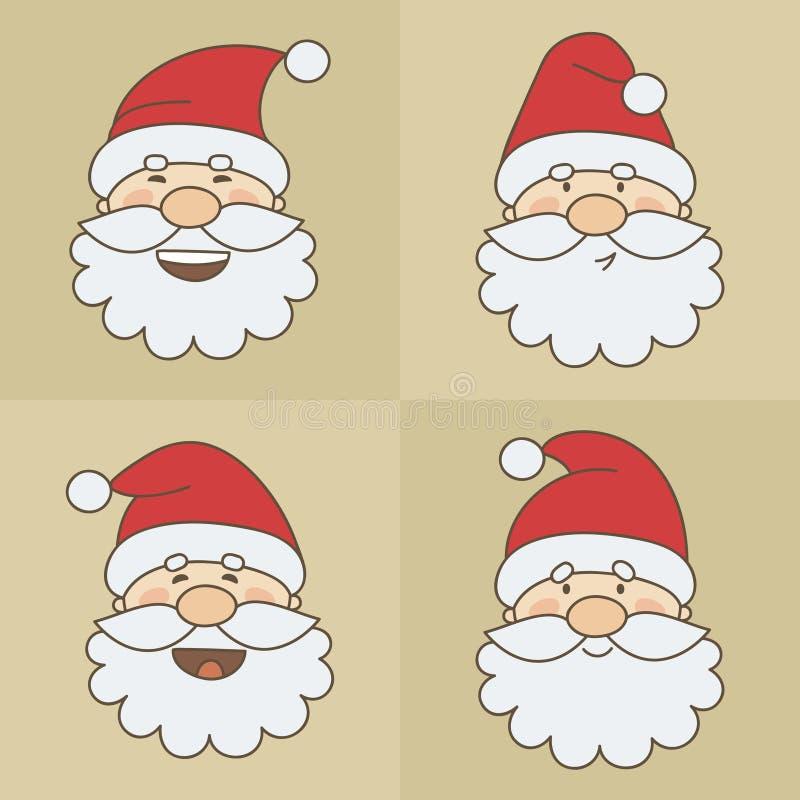 Vector icons Santa Claus emoticon faces stock illustration