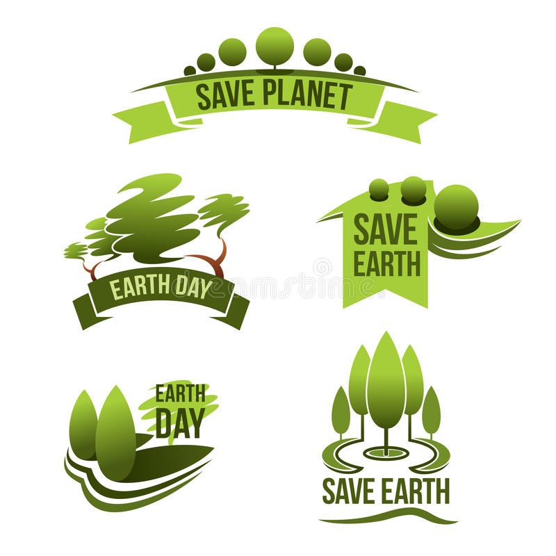 Nature Ecology: Vector Icons For Save Earth And Nature Ecology Stock