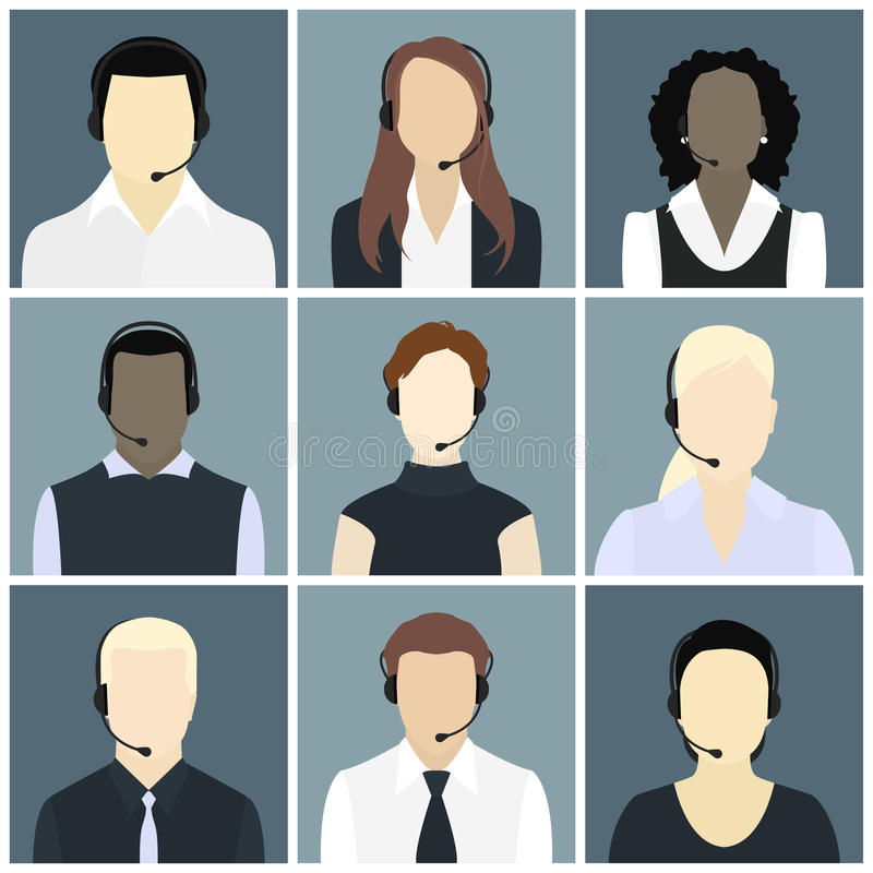 Vector icons set call center avatars in a flat style stock photography