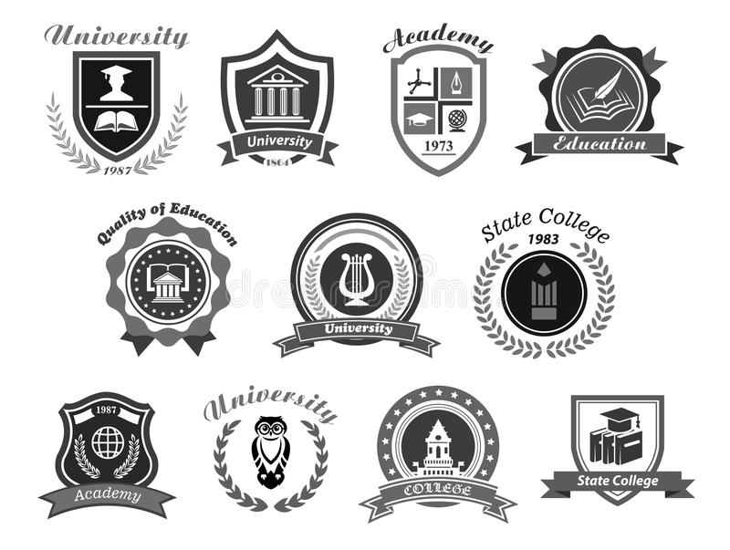 Vector icons set for college or state university. University, college and academy vector icons. Badge shields for high school education graduates in science royalty free illustration