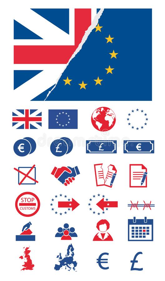 Vector icon set for creating infographics related to Brexit, European union, Great Britain and votes with torn EU and Unicon Jack vector illustration