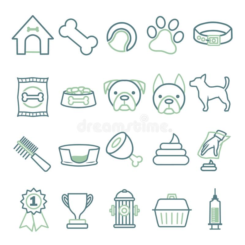 Vector icons set for creating infographics related to dogs, like collar, food, bowl, toy, comb or bed vector illustration
