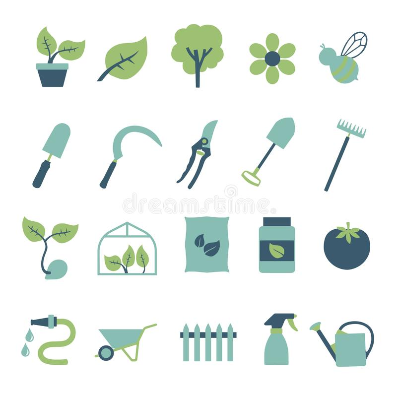 Vector icon set for creating infographics related to gardening and house plants, including flower, garden tool, greenhouse, hose royalty free illustration