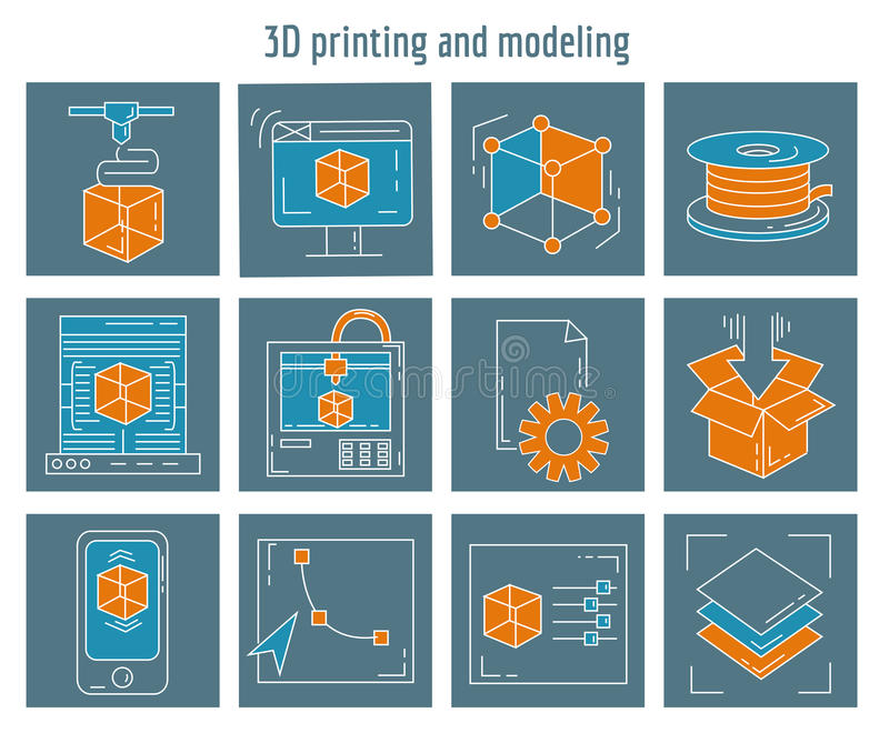 Vector icons set 3d printing and modeling royalty free illustration