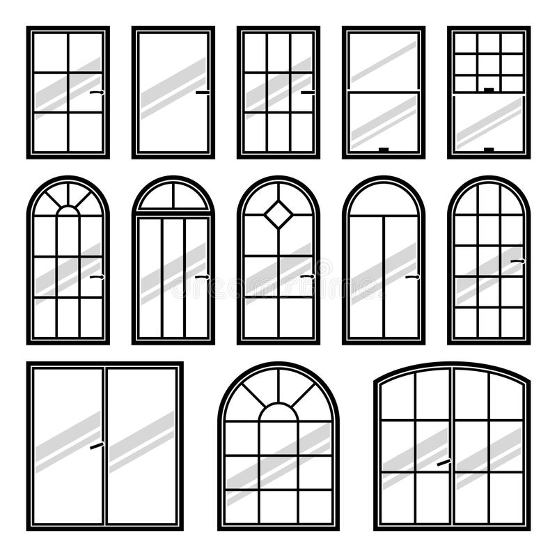 Vector icons set of different types of windows stock for Types of window panes