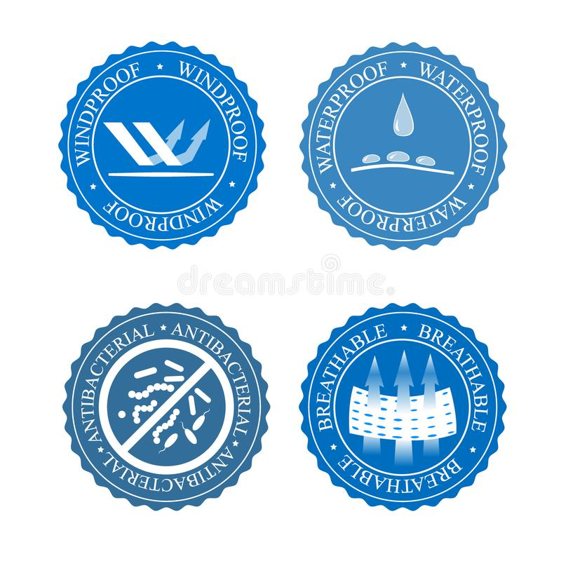 Vector icons set of fabric features. Wind proof, antibacterial, waterproof, and breathable wear labels. Textile industry. Pictogram for clothes line vector illustration