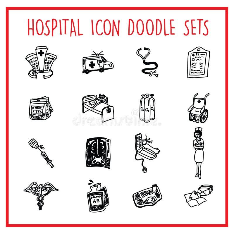 Hospital-Line-Icon-Doodle-Packs stock illustration