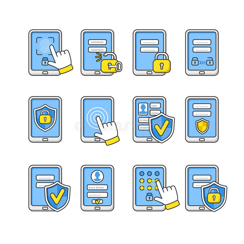 Vector icons set of mobile security. Smartphone security concept. royalty free illustration