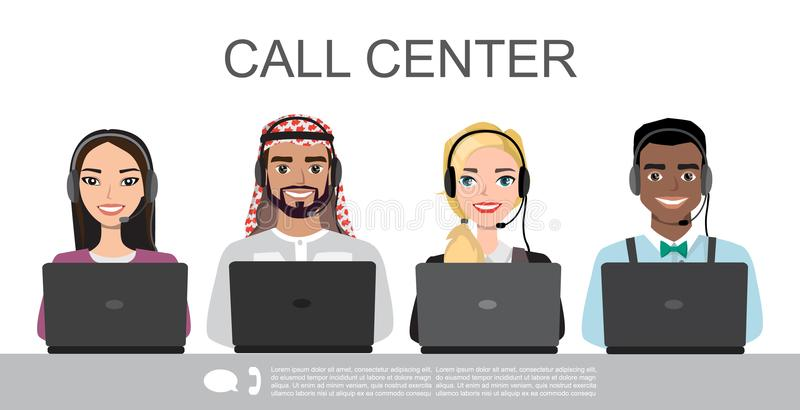 Vector icons set multiracial Male and female call center avatars in a cartoon style with a headset, conceptual of. Communication stock illustration