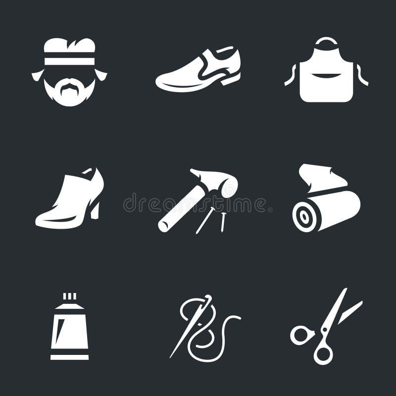 Vector Icons Set of Shoemaker. Cobbler, shoes, apron hammer cloth glue needle scissors royalty free illustration