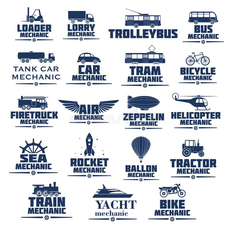 Vector icons set for transport mechanics stock illustration