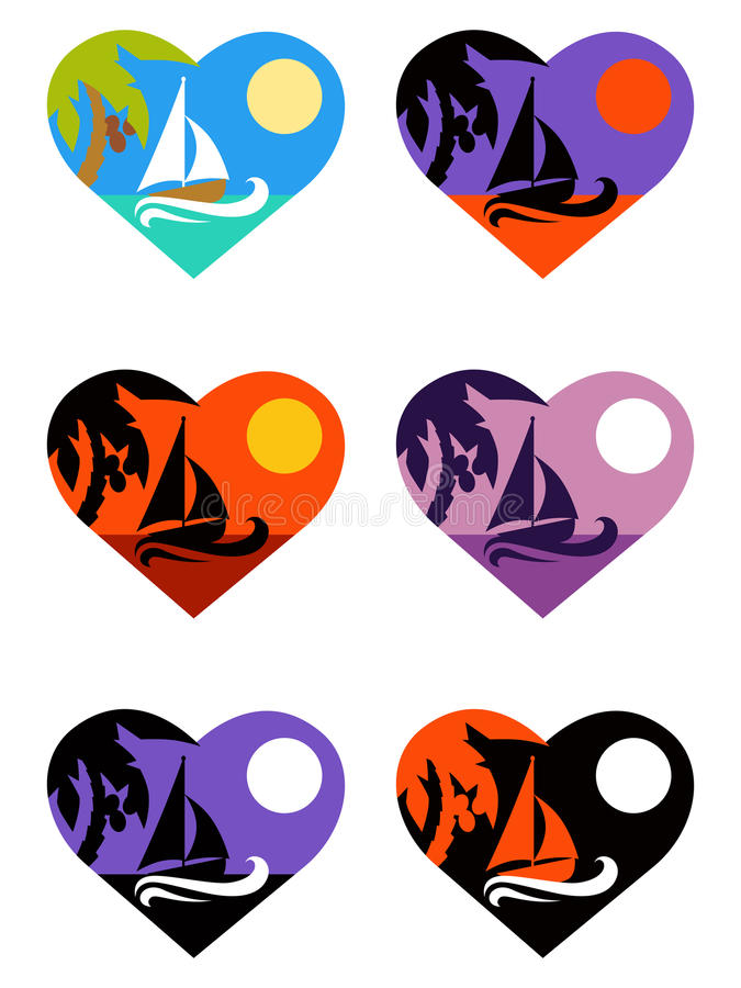 Vector icons set tropical emblems in heart. Vector set coconut palm tree and boat emblems in heart different colour royalty free illustration