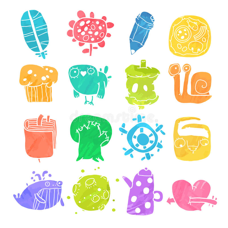Vector Icons Set of Watercolor Cartoon Objects and vector illustration