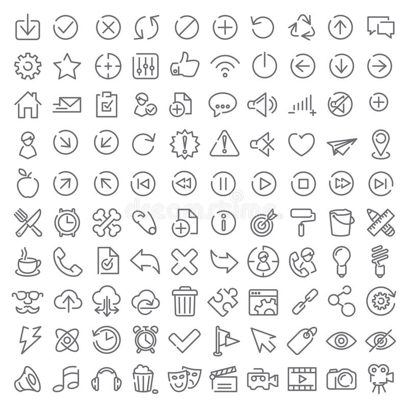 100 vector icons set. For web design and user interface stock illustration