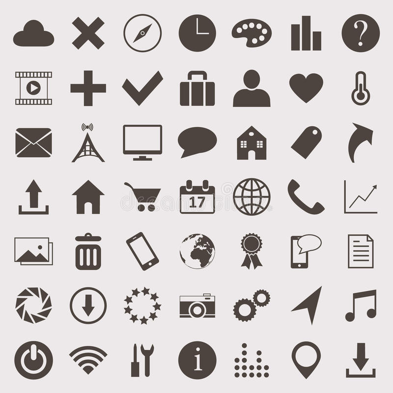 Vector icons set. Vector web icons set made in one color vector illustration