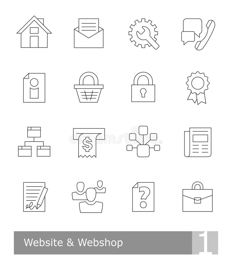 Vector icons set for website and web shop; black thin outlines royalty free illustration