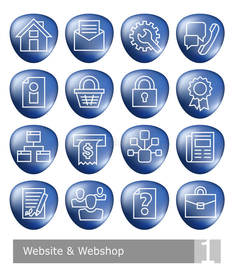 Vector icons set for website and web shop; blue 3D buttons. With thin white outlines stock illustration