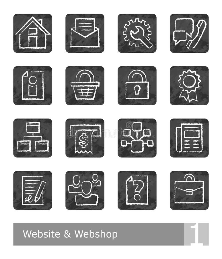 Vector icons set for website and web shop; chalk drawings vector illustration