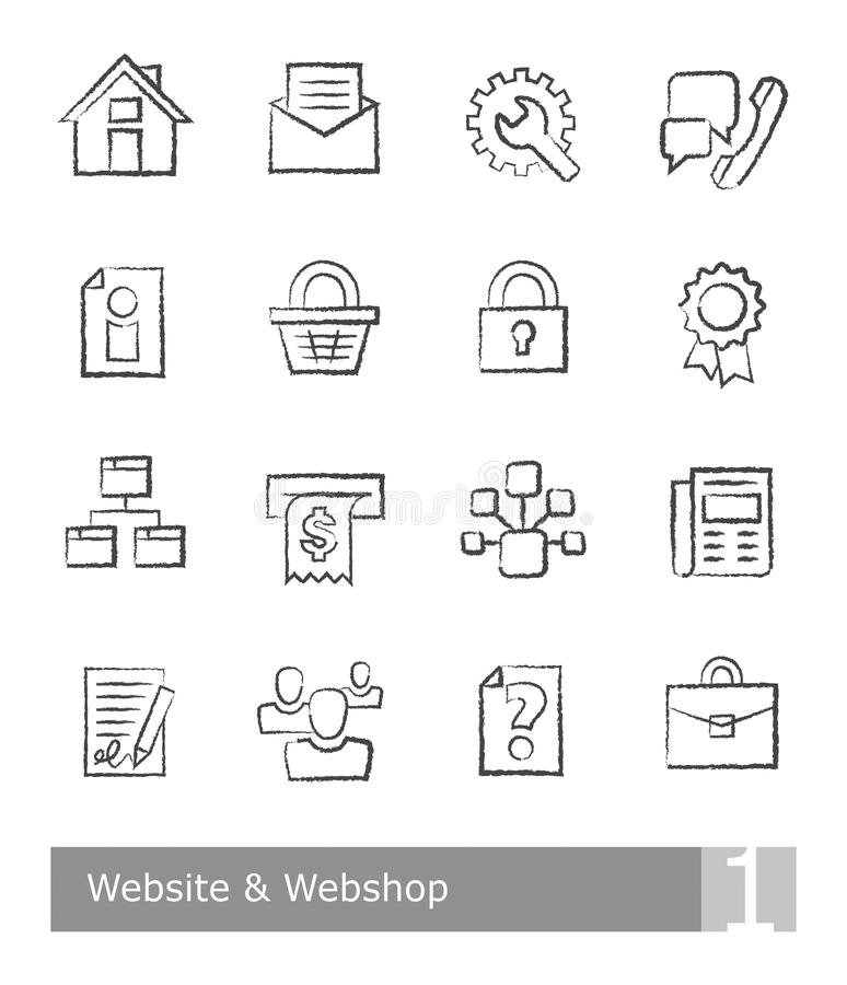 Vector icons set for website and web shop; charcoal drawings. On white background stock illustration