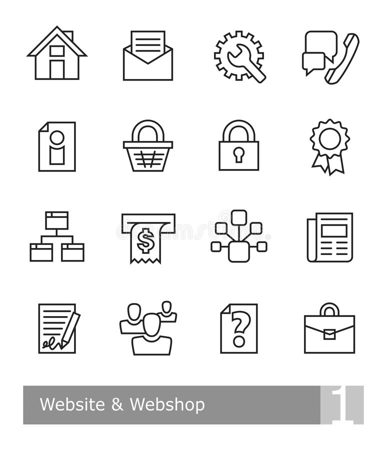 Vector icons set for website and webshop; black bold outlines stock illustration