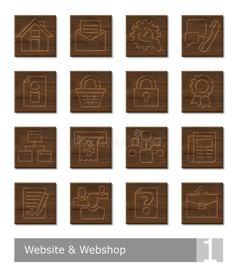 Vector icons set for website and webshop; woodcut buttons stock illustration