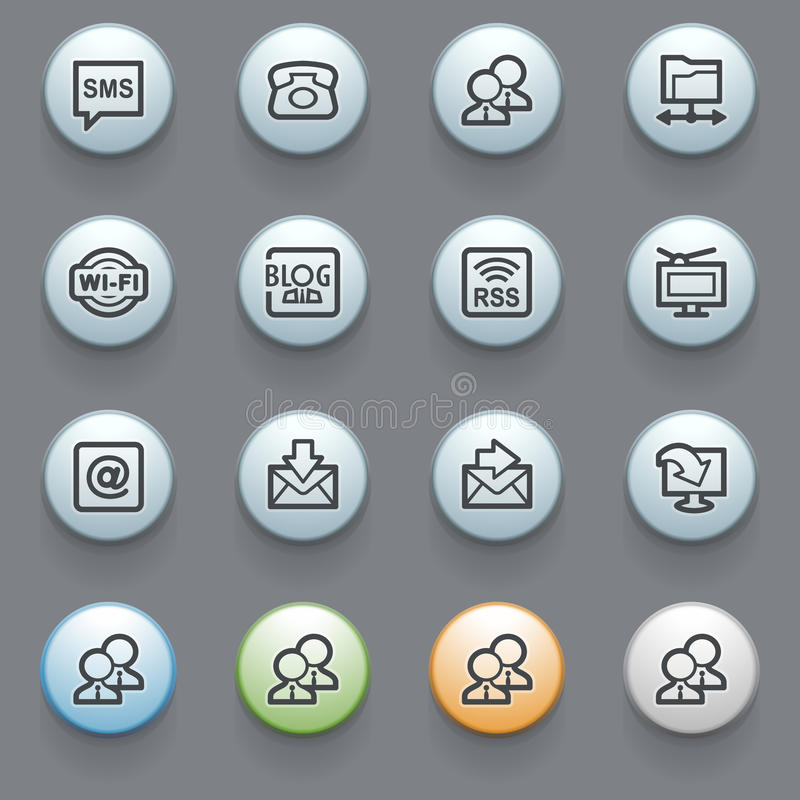 Download Communication Web Icons On Gray Background. Stock Vector - Illustration of green, envelope: 30313577