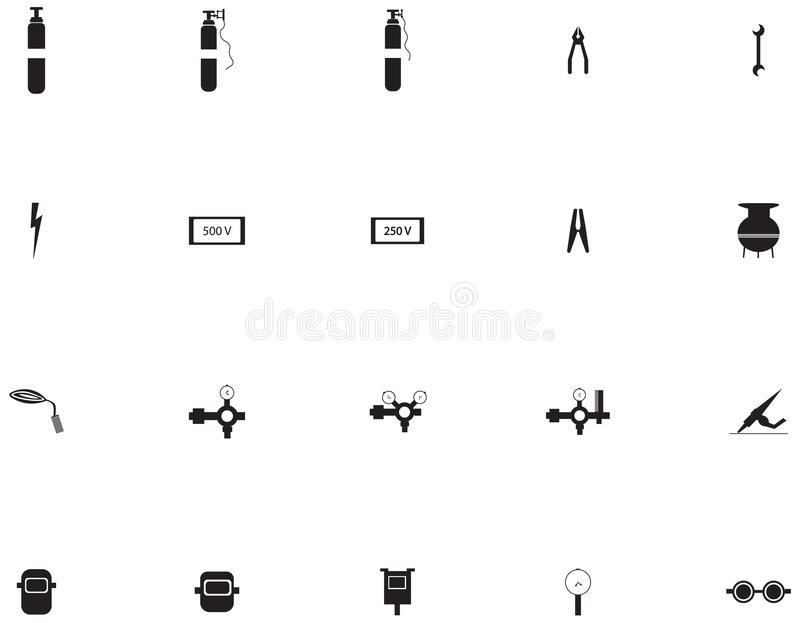 Vector icons set for welder royalty free illustration