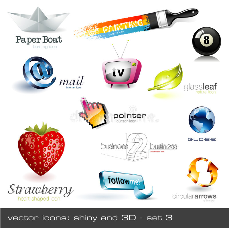 Free Vector Icons: Shiny And 3d - Set 2 Stock Images - 9051214