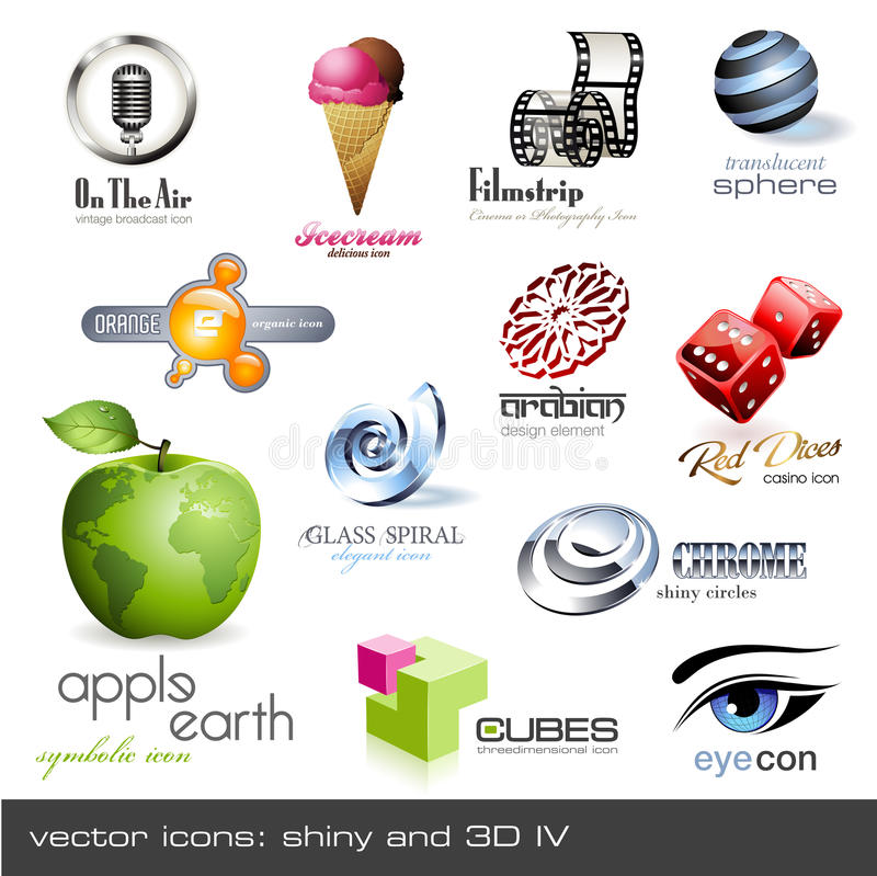 Free Vector Icons: Shiny And 3d - Set 4 Royalty Free Stock Photo - 11160025