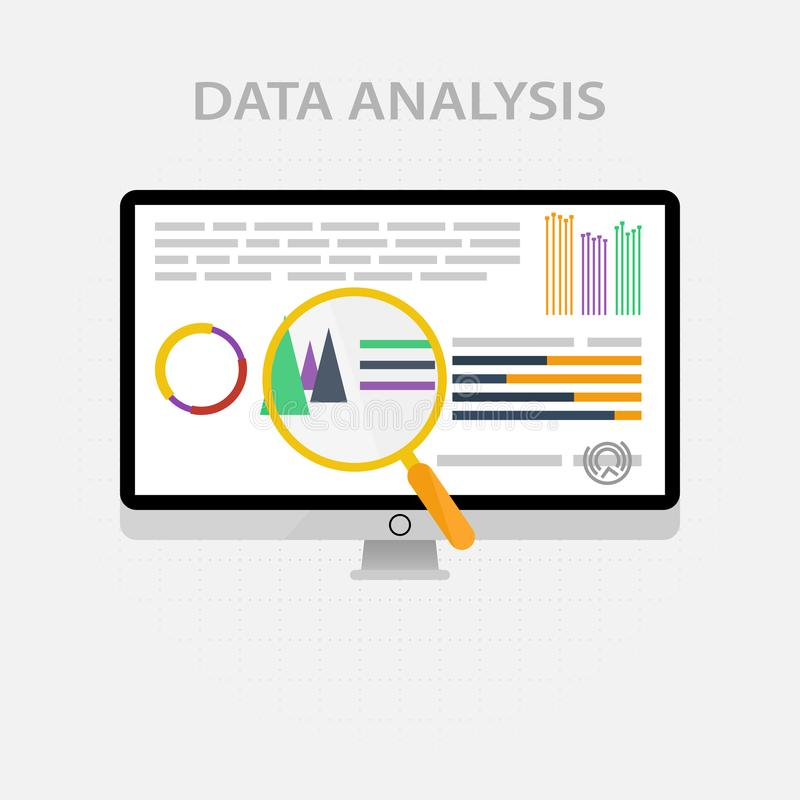 Vector icons and signs for the management and marketing concept of infographic of big data analysis and financial business royalty free illustration