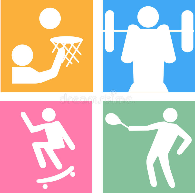 Vector icons of silhouettes of sportsmen royalty free illustration