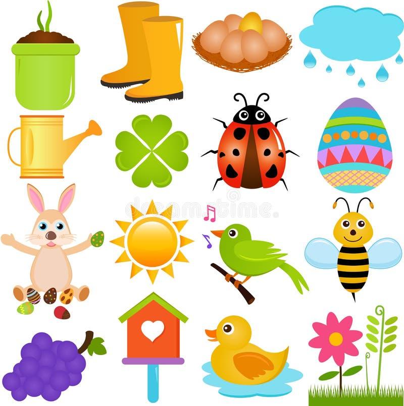 Vector Icons : Spring Season Theme royalty free illustration