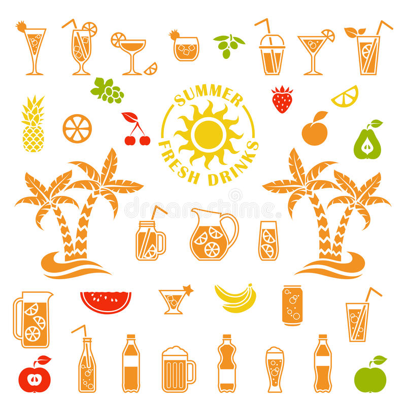 Vector icons of summer drinks stock illustration