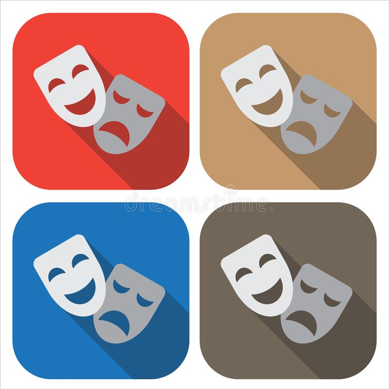 Theater icon. Masks. Badge in a flat design. vector illustration