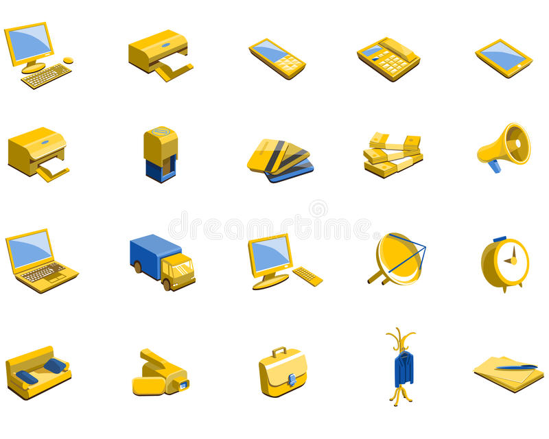 Vector icons on a theme office stock illustration