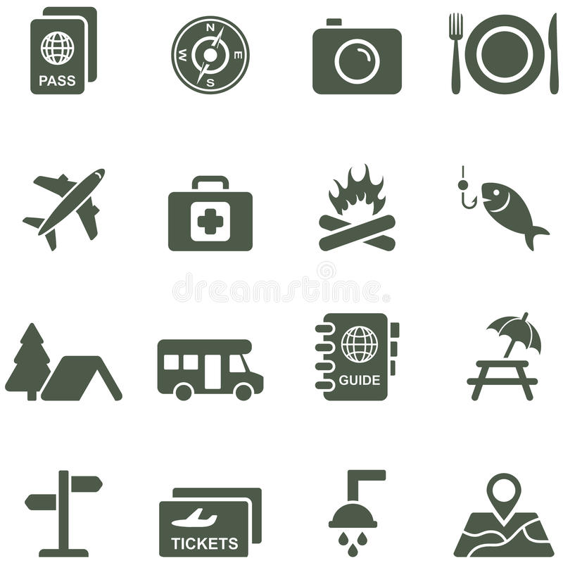 Vector Icons For Travel And Tourism. Royalty Free Stock Image