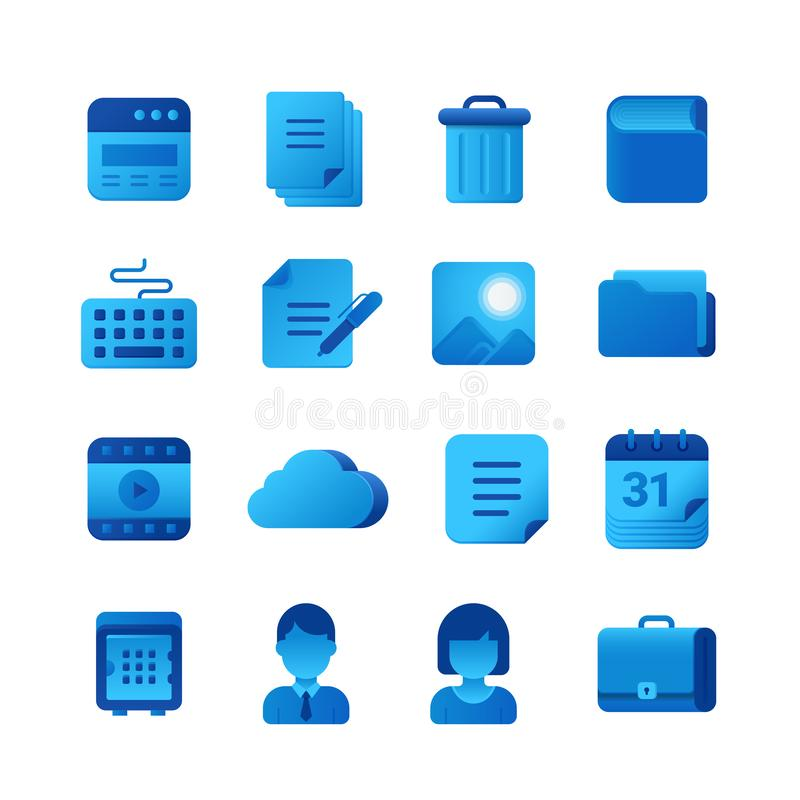 Vector icons Universal set. Browser Document Book Keyboard Folder Cloud Calendar Briefcase icon.  vector illustration