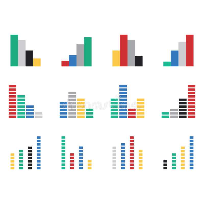 Vector icons for various graphs. Against white background vector illustration